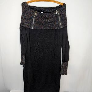 Black sweater dress with metallic neck and cuffs